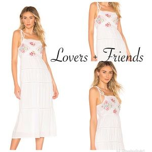 Lovers + Friends Tally Midi Embroidered Dress NWT